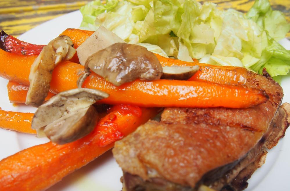 Canette aux carottes confites et quelques cèpes, on est gourmand ou on ne l'est pas ! (1/5)