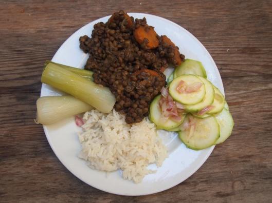 lentille,riz-poireau-courgette-végan-combinaisons alimentaires
