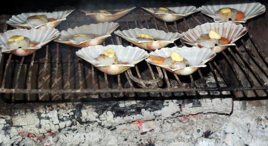 coquille saint jacques-noilly prat-cuisson cheminée