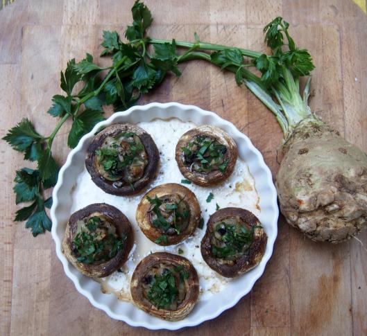 champignons farcis-béchamel-végan-sans gluten