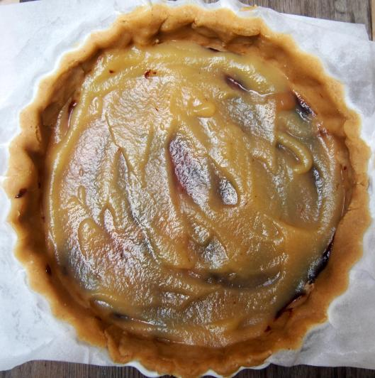 pâte-tarte-végan-crème de pruneaux-compote