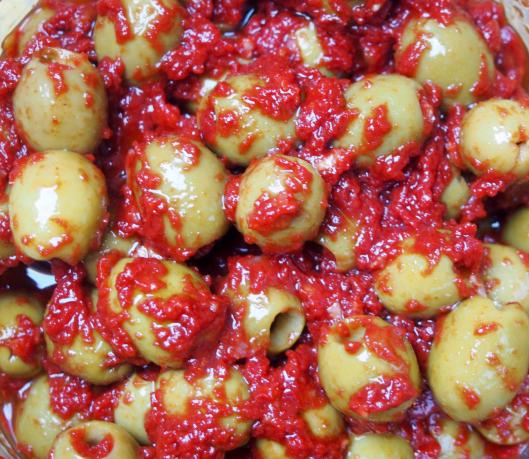 Olives vertes-pâte de piment-ail-sans gluten-végan-combinaisons alimentaire-blog Narbonne