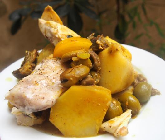 tajine-mulet-lotte-curcuma-combinaisons alimentaires-blog Narbonne-Blogueuse Narbonne-sans gluten-citron confit-olive verte