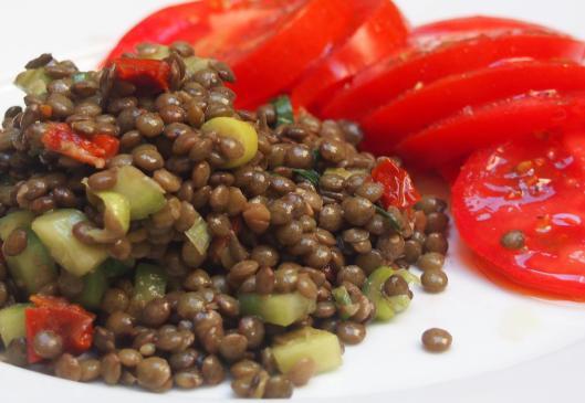 salade de lentilles-lentille-tomate séchée-concombre-blog Narbonne-blogueuse Narbonne-sans gluten-végan