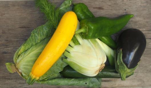 légumes sautés-plancha-chou pointu-courgette-poivron-oignon doux-fenouil-aubergine-Noilly Prat-huile d'olive