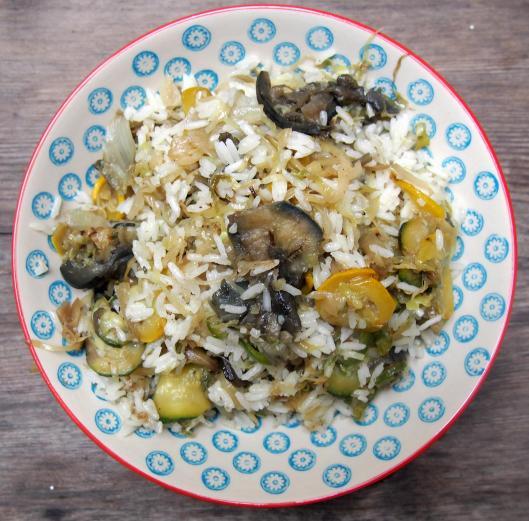 légumes sautés-plancha-chou pointu-courgette-poivron-oignon doux-fenouil-aubergine-Noilly Prat-huile d'olive-riz Thaï