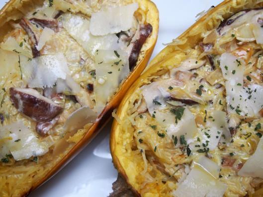 courge spaghetti-shiitaké-parmesan-ortie-sans gluten-Les Lentins des Corbières-blog Narbonne-blogueuse Narbonne